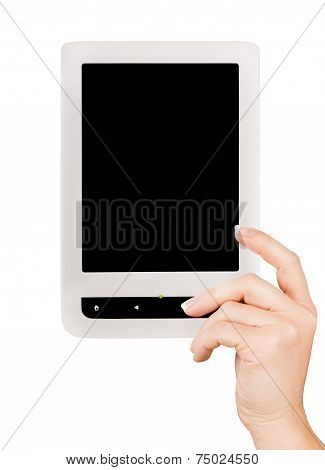 Holding E-book reader in hands. Include clipping path for screen and book with hands