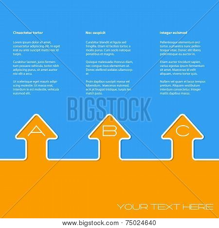Simple Infographic Design With Arrows And Grades On Blue Orange Background