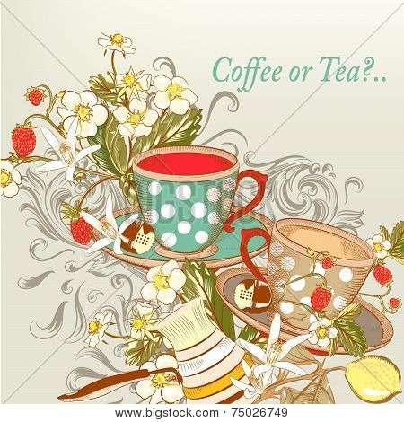 Coffeee Or Tea Background With Hand Drawn Cups In Vintage Style