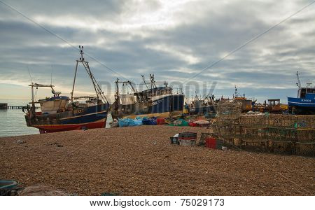 HASTINGS, UK - SEPTEMBER 27, 2014: Fish man boats