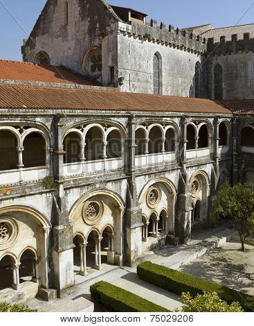 Cloister And Church Of The Alcobaca Monastery.