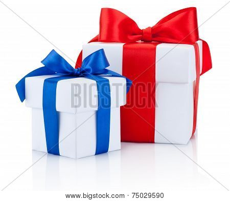 Two White Gift Boxs Tied Blue And Red Ribbons Bow Isolated On White Background