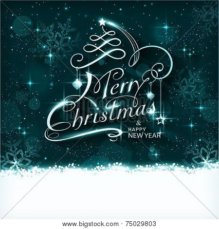 Dark blue Christmas background with ornaments and the lettering Merry Christmas and Happy New Year. Light effects, snowfall, stars and snow flakes give it a magical and festive feeling.