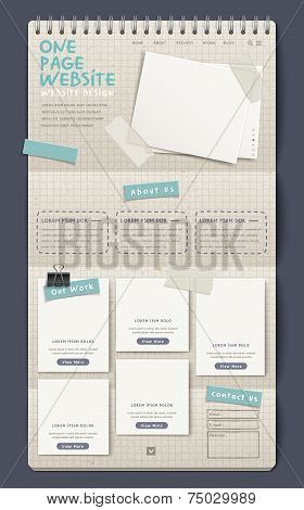 Notebook Style One Page Website Design Template