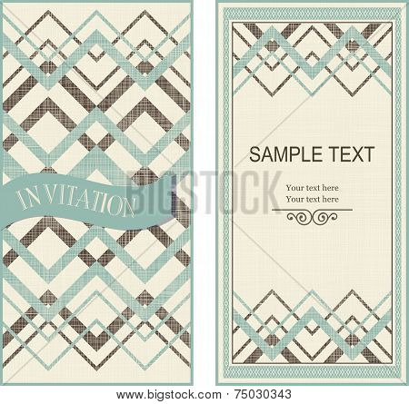 Set Of Invitation Cards On Vintage Geometric Background