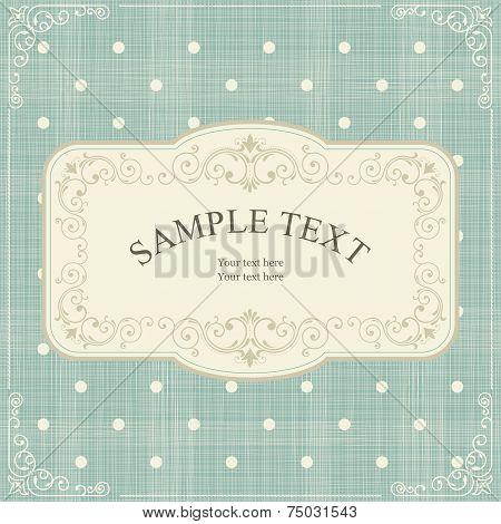 Set Of Invitation Cards On Vintage Polka Dots Background