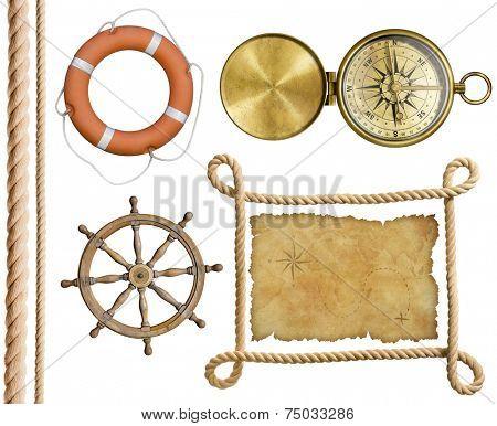 nautical objects rope, treasure map, lifebuoy, compass, wheel isolated