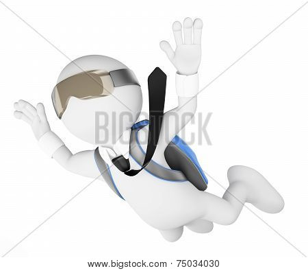 3D White People. Financial Risk Concept. Leap Into The Void