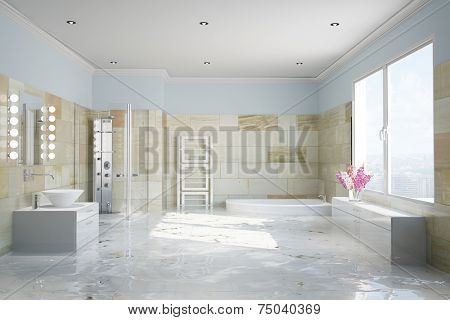 Flooding in terracotta bathroom with water damage (3D Rendering)