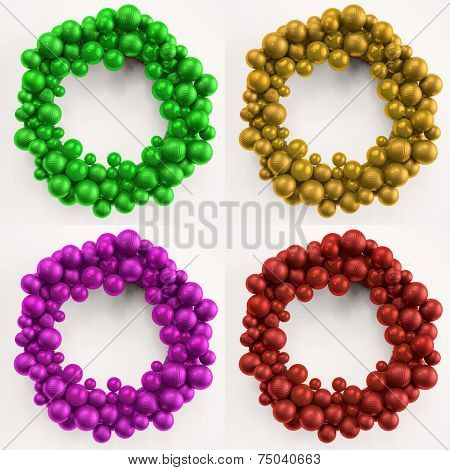 Four colorful christmas wreaths made of christmas tree balls (3D Rendering)