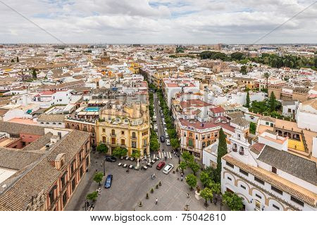 Aerial View Of Sevilla In Cloudy Weather