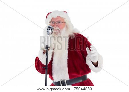 Santa Claus is singing Christmas songs on white background