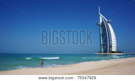 View Of Burj Al Arab Hotel From The Jumeirah Beach