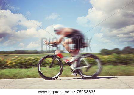 Racing Cyclist. Motion blur