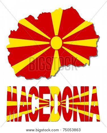 Macedonia map flag and text vector illustration