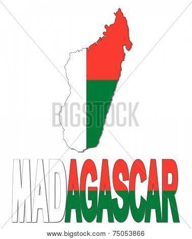Madagascar map flag and text vector illustration