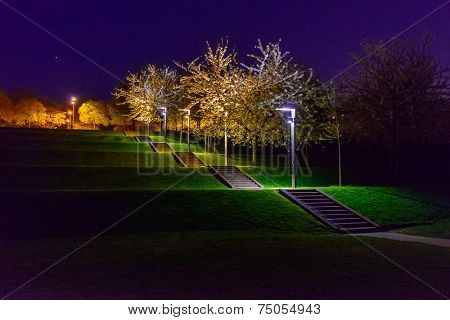 A Night in the Park. Late Spring Night in the Park. Stone Stairs and Park Alley. Horizontal Photography. Central Europe. France. Paris. Amiens.
