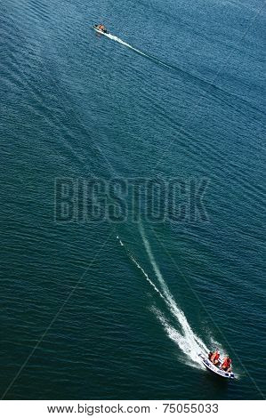 two speedboats on the Baikal lake