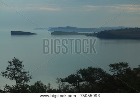 sunset in scenic bay of Baikal lake