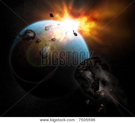 exploding planet