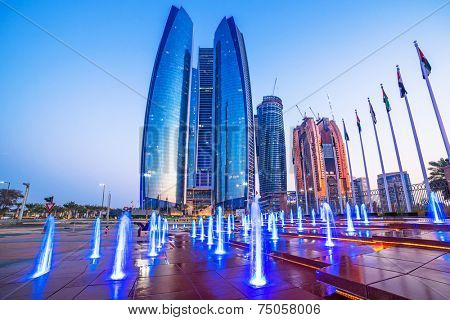 ABU DHABI, UAE - 28 MARCH 2014: Etihad Towers buildings in Abu Dhabi. United Arab Emirates. Five towers complex with 74 floors is the third tallest building in Abu Dhabi.