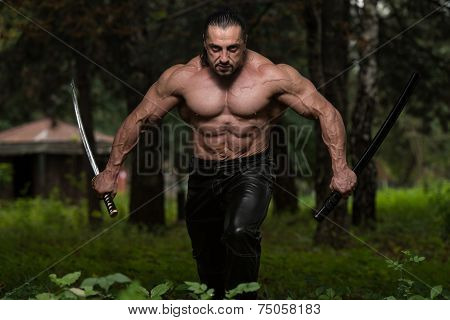 Fighter Holding Ancient Sword