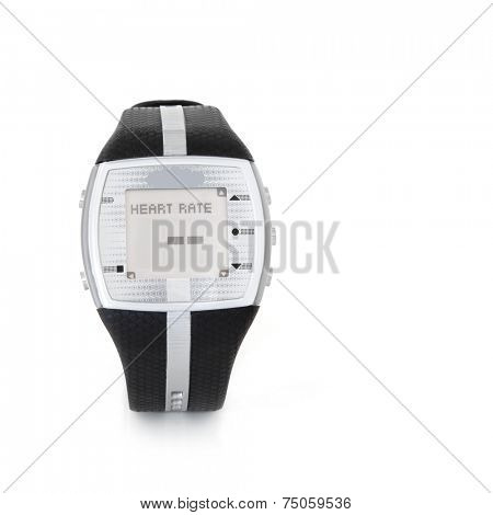 Heart rate monitor sensor watch over white background with copy space.