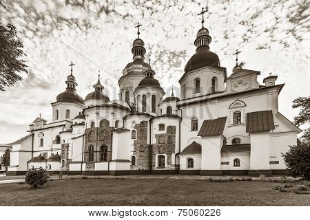 Rear View Of Saint Sophia Cathedral In Kiev, 11Th Century, Black And White