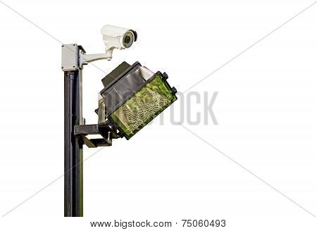 Traffic Intersection Signal Surveillance Camera With Lights.