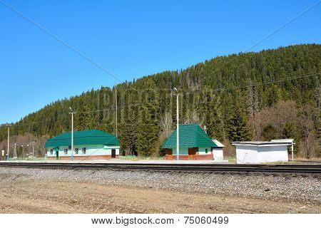Railway Station In Kuznetsk Alatau Mountains