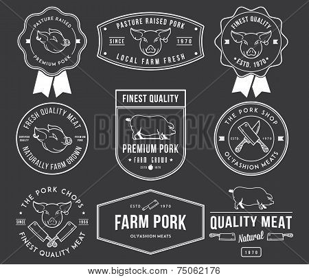 Premium Pork Meat White On Black
