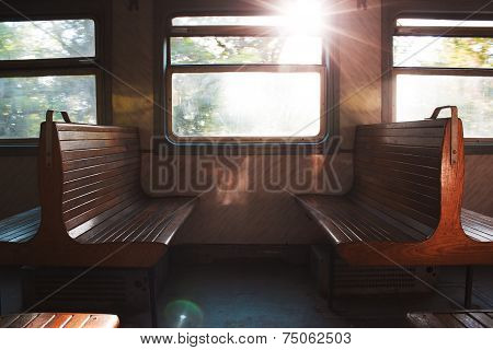 Couple of benches in train