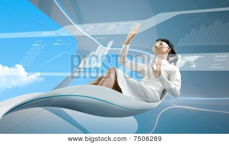 Brunette Oparating Interface In Bio Armchair