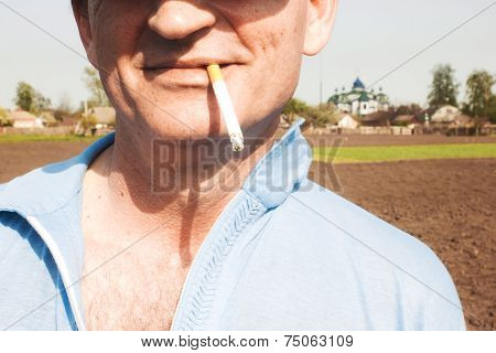 Cigarette in mouth