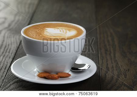 Cup Of Fresh Cappuccino With Latte Art