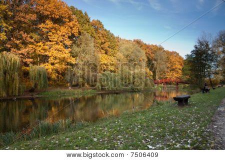 Beautiful River In Autumn