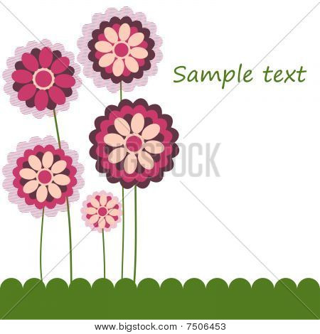Congratulatory card with flowers.vector illustration