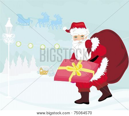 Santa Claus Distributes Gifts
