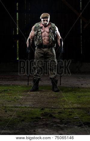 Portrait Of A Man With Machine Guns