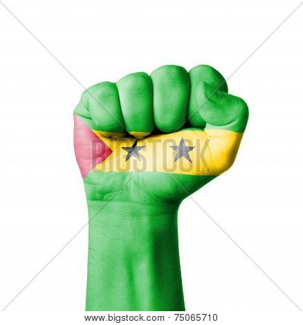 Fist Of Sao Tome Principe Flag Painted