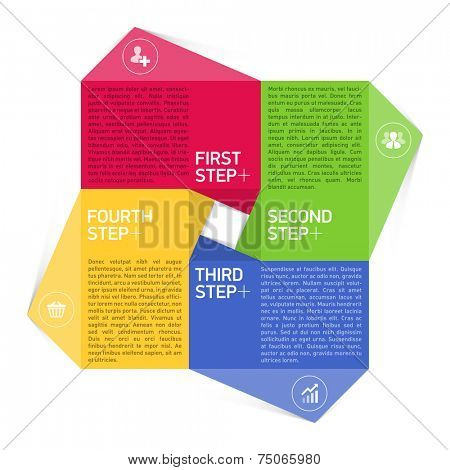 Four consecutive steps design element template. Vector.