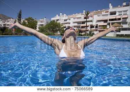 Front Open Arms Woman In A Pool