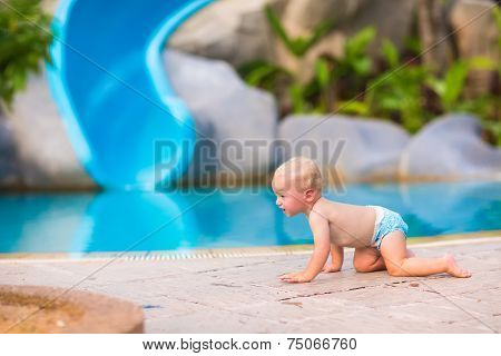 Little Baby At Swimming Pool