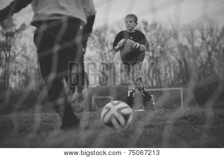 Soccer Practice in the Fall B/W