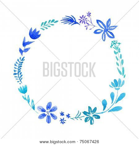 Watercolor vector floral oval wreath with leaves and flowers