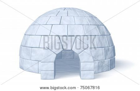 Igloo Icehouse On White Front View