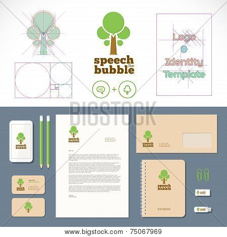 Speech Bubble Tree Logo and Identity Template