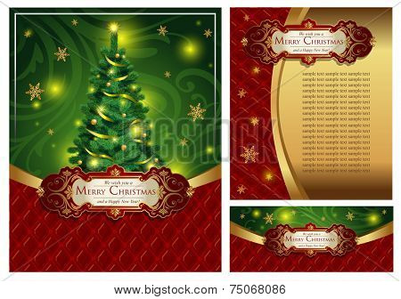 Set of a bright festive Christmas greeting card, an envelope and the certificate In classic style. Possible to use for banners, posters, decoration, booklets, etc.A vector illustration.