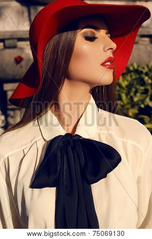 Portrait Of Beautiful Lady With Dark Hair In Elegant Blouse And Hat
