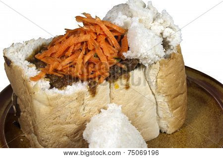 Traditional Durban Mutton Bunny Chow With Sambal